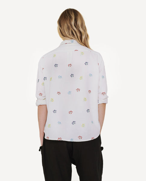 The Campus Shirt. -- White Floral