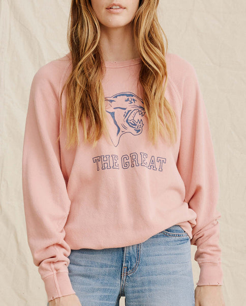 The College Sweatshirt. Graphic -- Vintage Rose With Blue Panther Logo