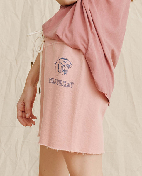 The Sweat Short. -- Vintage Rose With Blue Panther Logo