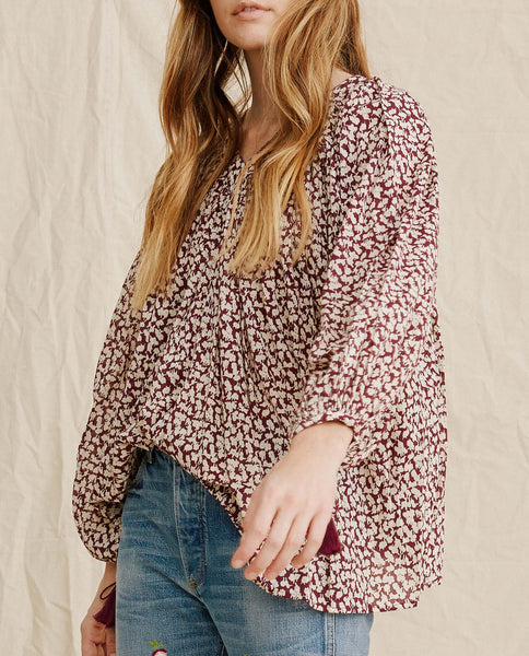The Artist Blouse. -- Maroon Shadow Floral