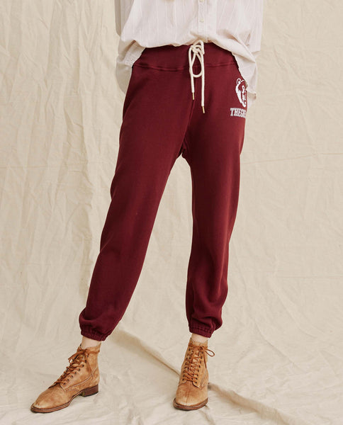 The Warm Up Sweatpant. -- Maroon With White Bear Logo