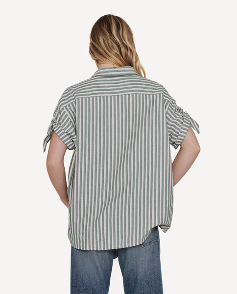 The Tie Sleeve Big Shirt. -- Green Stripe
