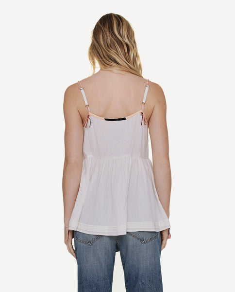 The Adobe Camisole. -- Off White With Multi Color Embroidery