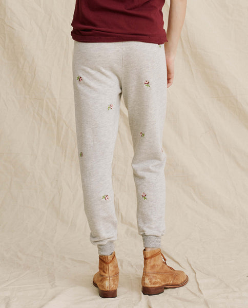 The Cropped Sweatpant. -- Heather Grey With Rosette Embroidery