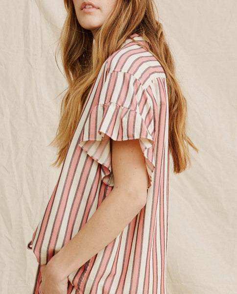 The Flounce Sleeve Button. -- Pink Taffy Stripe