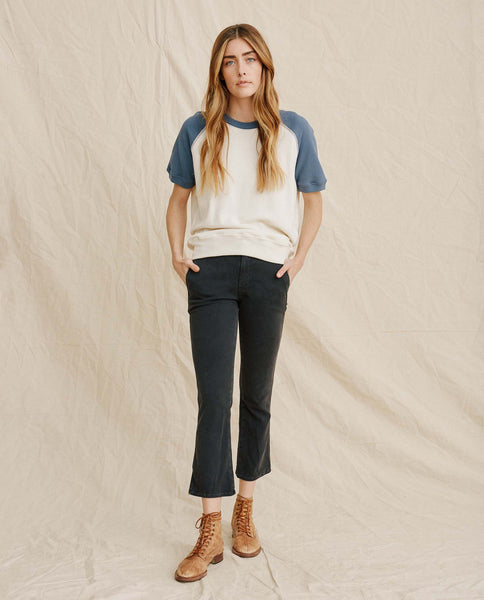 The Short Sleeve Sweatshirt. -- Washed White With Vintage Blue