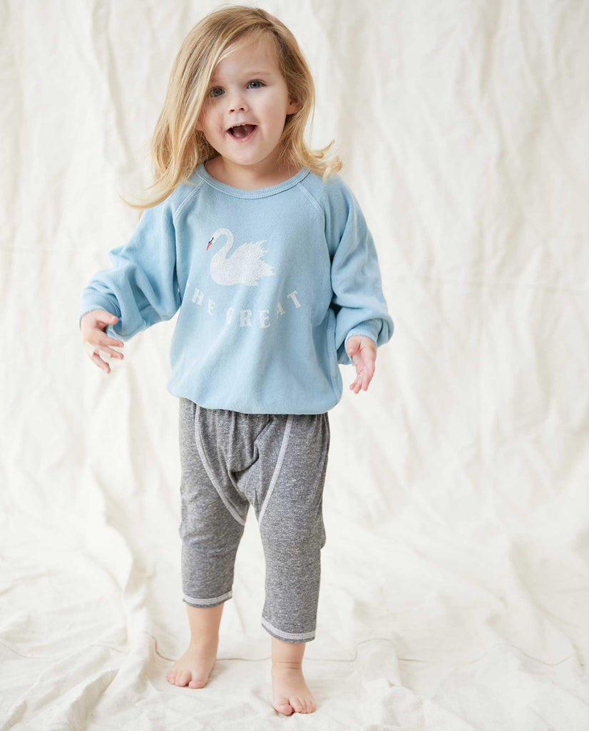 The Little College Sweatshirt. -- PALE BLUE WITH SWAN GRAPHIC