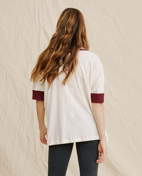 The Vintage Henley. -- Washed White With Maroon