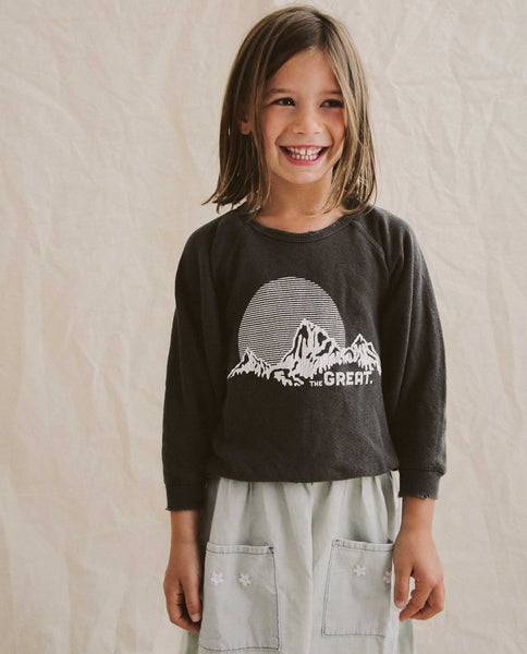The Little College Sweatshirt. -- Washed Black With Mountain Graphic