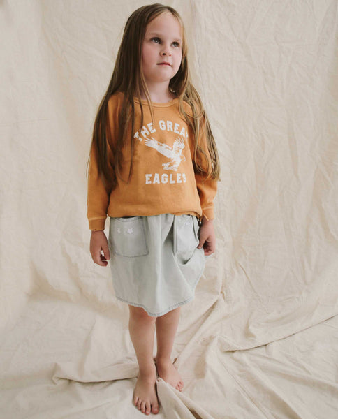 The Little College Sweatshirt. -- Marigold with Eagle Graphic