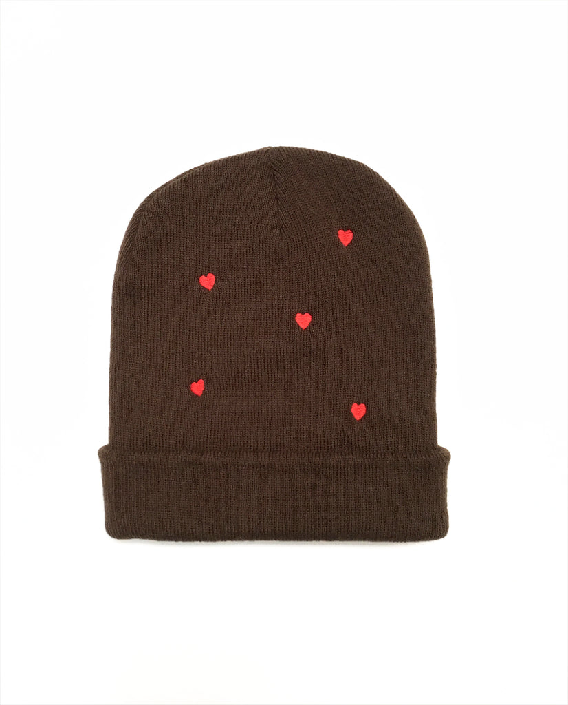 THE HEART BEANIE. -- CHOCOLATE W. RED HEART