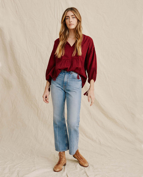 The Panel Tunic Top. -- Maroon