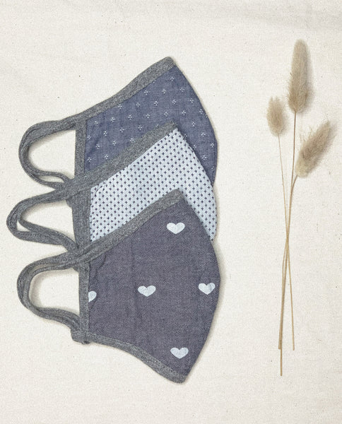 The Face Mask Pack. -- Chambray Jacquard/ Embroidered x Stitch/ Chambray Heart
