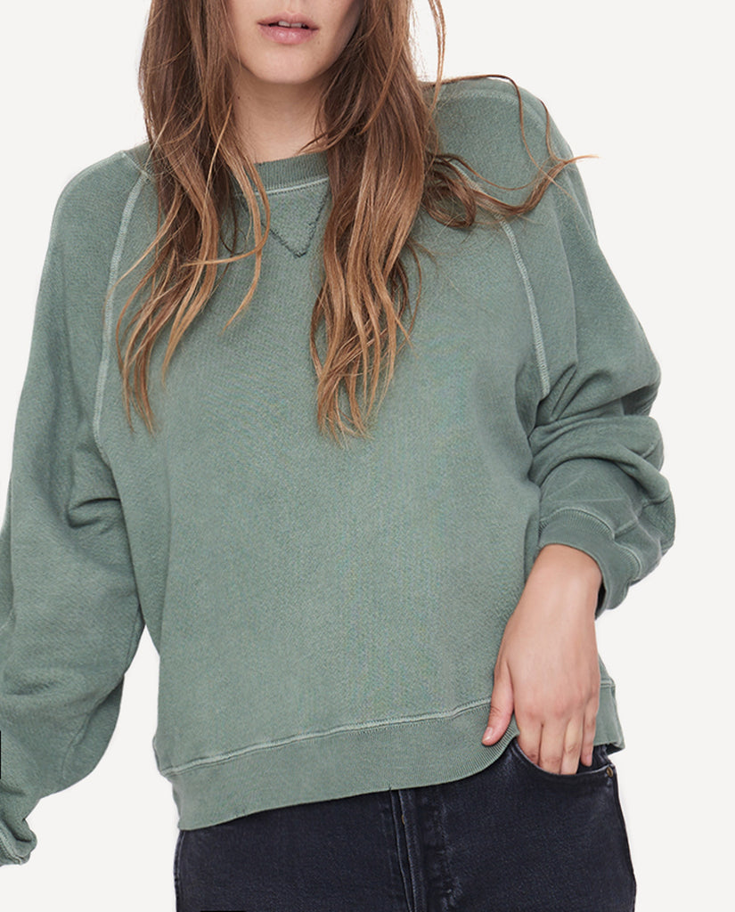 The Cropped Sweatshirt in Hedge Green by The Great