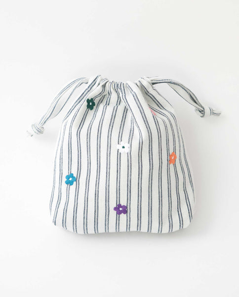 The Embroidered Drawstring Pouch. -- Heavier Stripe With Bright Multi Color Flower