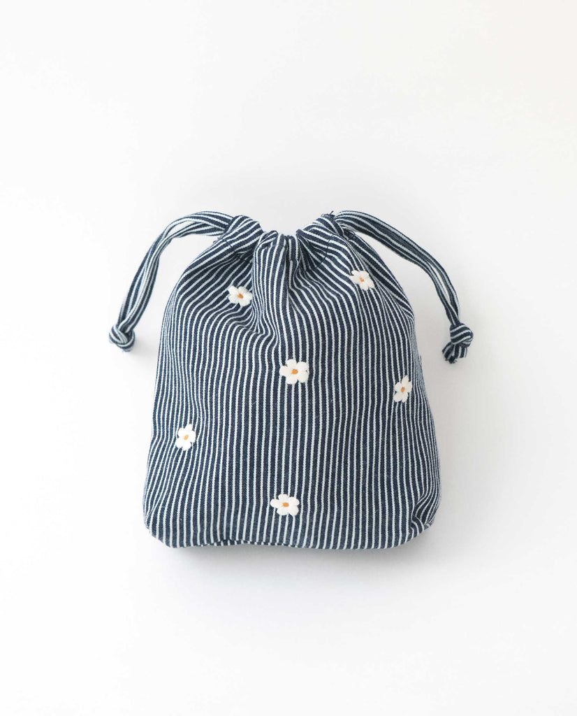 The Embroidered Drawstring Pouch. -- Railroad Stripe With Cream Flowers