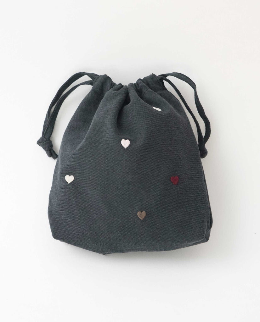 The Embroidered Drawstring Pouch. -- Black With Multi Heart