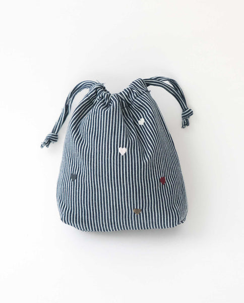 The Embroidered Drawstring Pouch. -- Railroad Stripe With Multi Color Heart