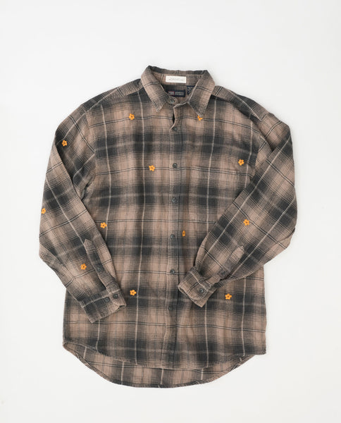 The Vintage Flannel. -- Railroad Plaid with Autumn Flower Embroidery