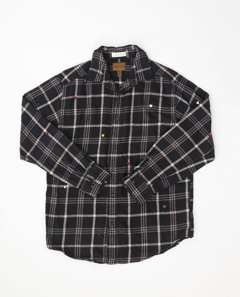 The Vintage Flannel. -- Night Plaid with Multi Heart Embroidery