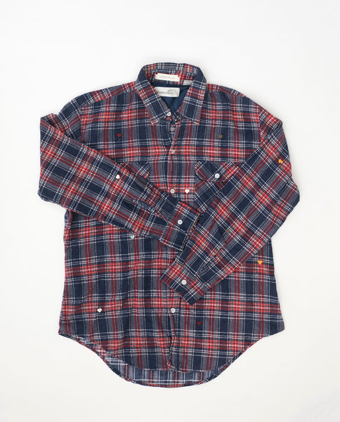 The Vintage Flannel. -- Winter Plaid with Multi Heart Embroidery