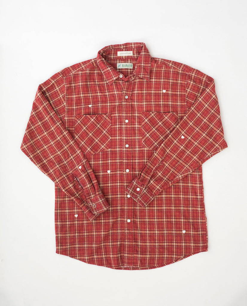 The Vintage Flannel. -- Western Plaid with White Heart Embroidery