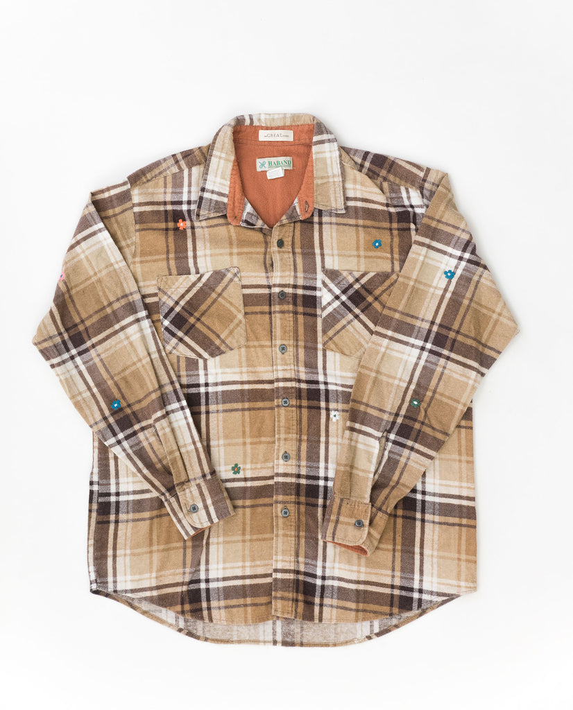 The Vintage Flannel. -- Sepia Plaid with Multi Flower Embroidery