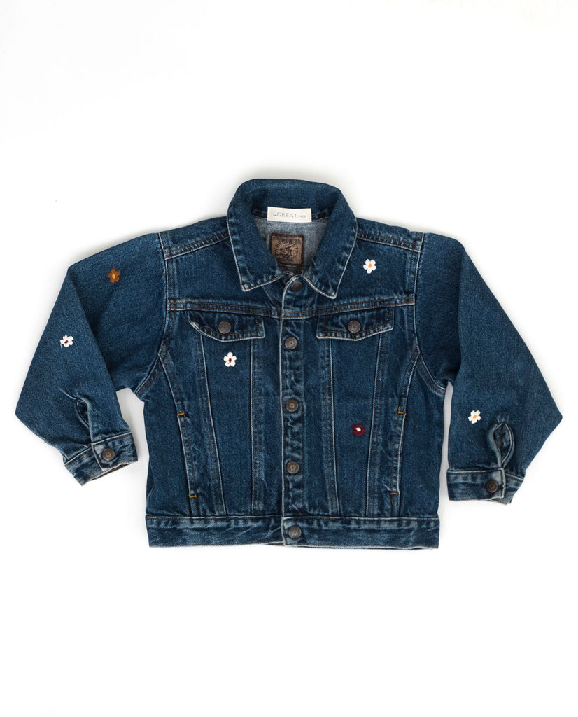 The Vintage Kid's Denim Jacket. -- Faded Indigo with Multi Flower Embroidery