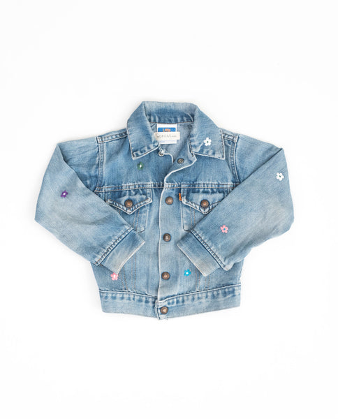 The Vintage Kid's Denim Jacket. -- Classic Wash with Multi Flower Embroidery
