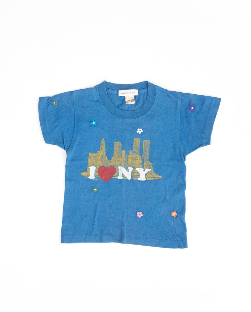 The Vintage Kid's Tourist Tee. -- Royal Blue with Multi Flower Embroidery and I love NY Graphic