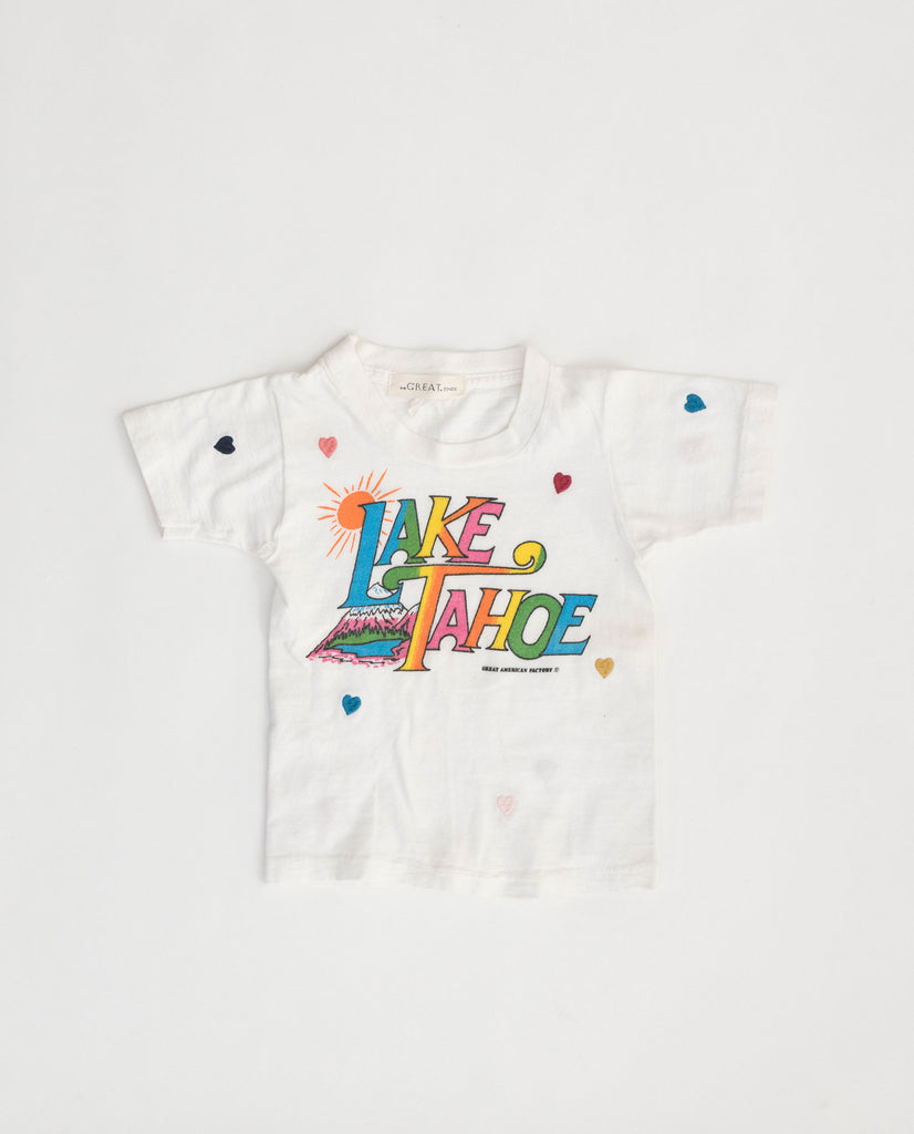 The Vintage Kid's Tourist Tee. -- White with Multi Flower Embroidery and Lake Tahoe Graphic