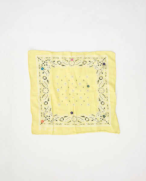 The Vintage Bandana. -- Lemon with Multi Flower Embroidery