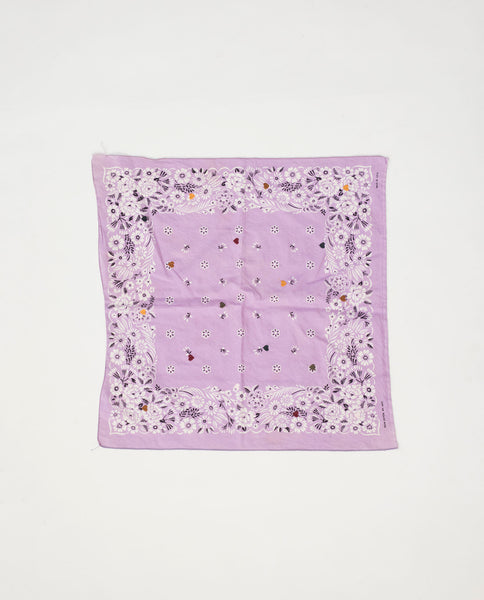 The Vintage Bandana. -- Lavender with Multi Heart Embroidery