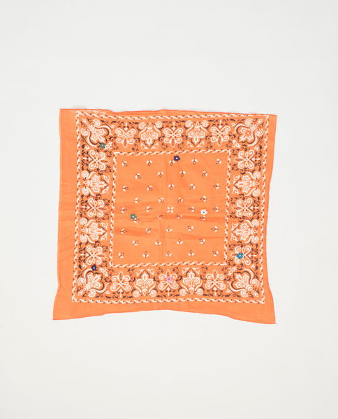 The Vintage Bandana. -- Apricot with Multi Flower Embroidery