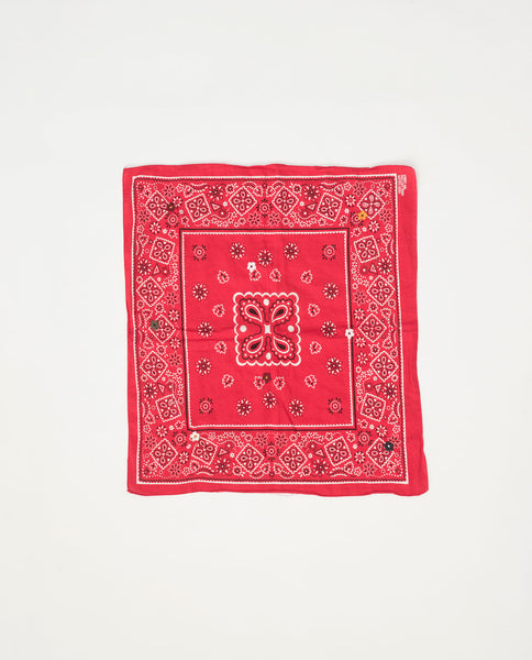The Vintage Bandana. -- Candy Apple Red with Multi Flower Embroidery