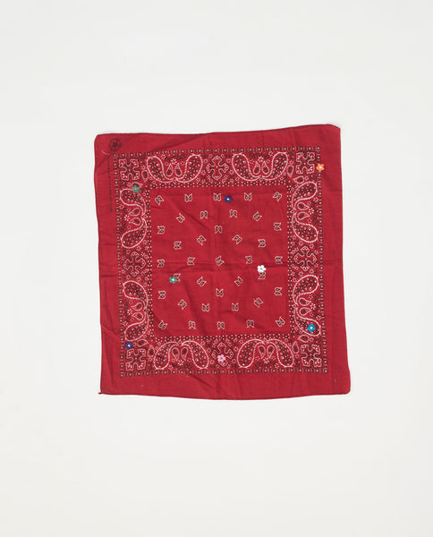 The Vintage Bandana. -- Ruby with Multi Flower Embroidery