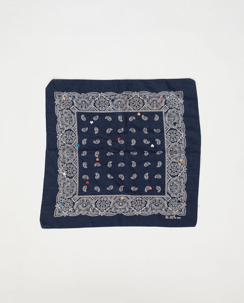 The Vintage Bandana. -- Navy with Multi Heart Embroidery