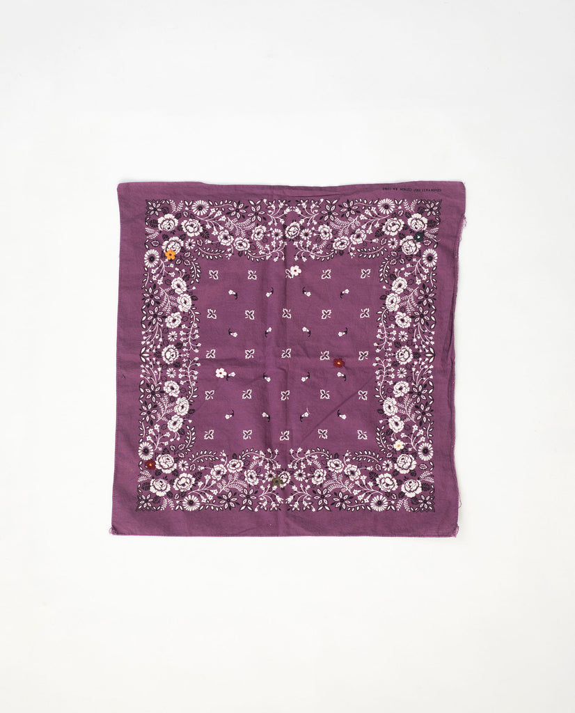 The Vintage Bandana. -- Plum with Multi Flower Embroidery