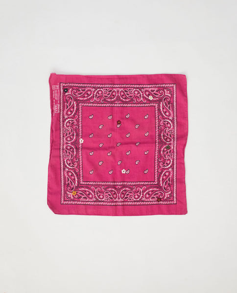 The Vintage Bandana. -- Bubblegum with Multi Flower Embroidery