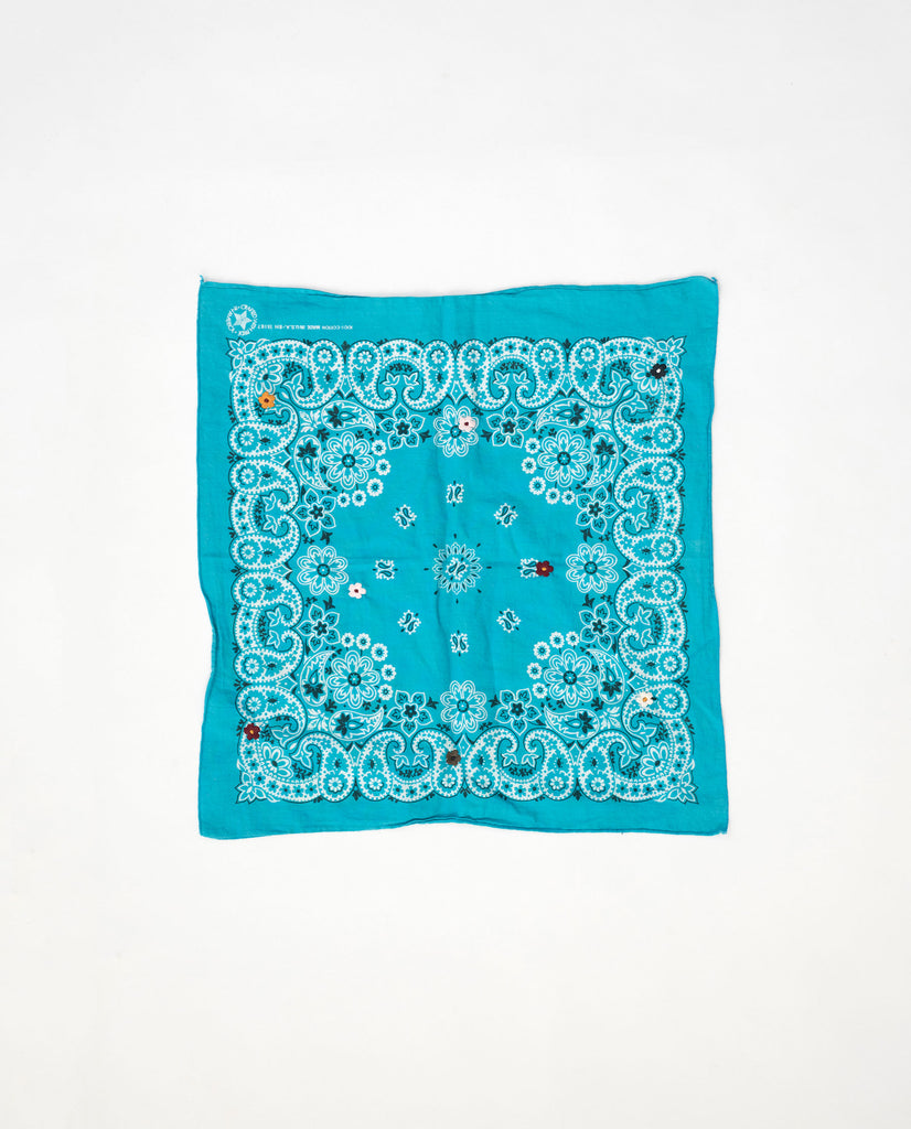 The Vintage Bandana. -- Teal with Multi Flower Embroidery