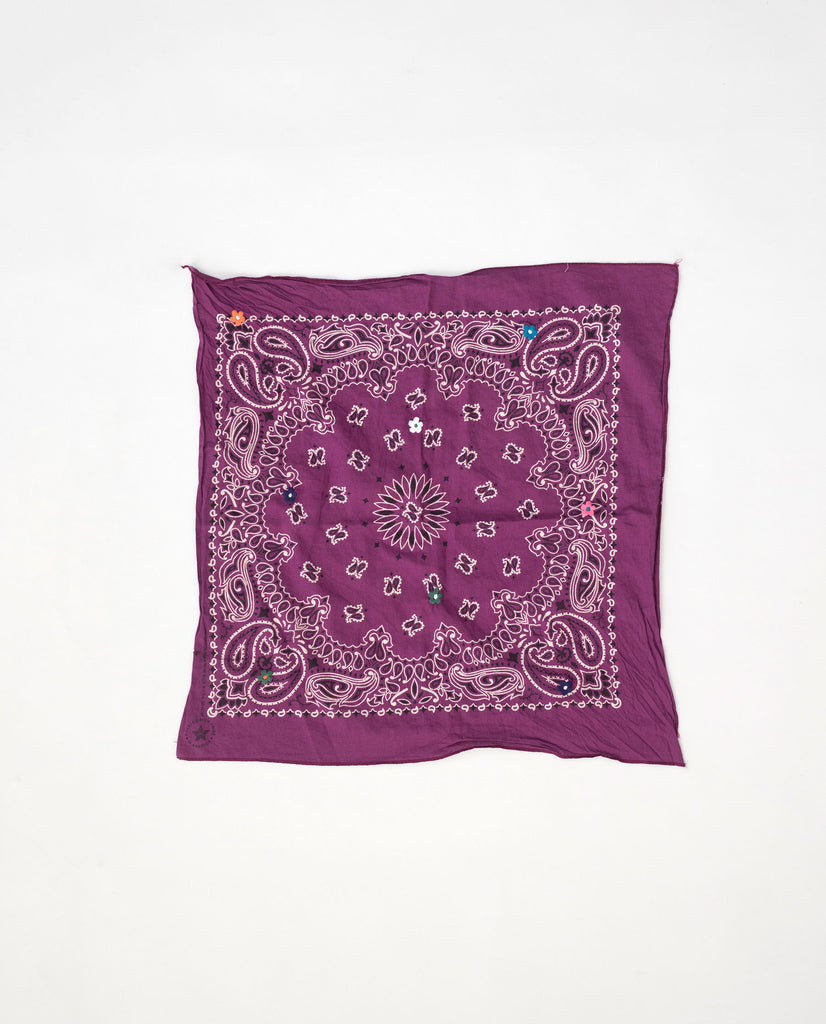 The Vintage Bandana. -- Dark Magenta with Multi Flower Embroidery