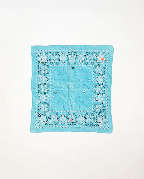 The Vintage Bandana. -- Aqua with Multi Flower Embroidery