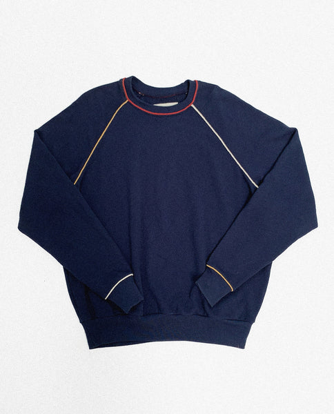 The College Sweatshirt and The Cropped Sweatpant Set. Novelty -- Navy With Multi Piping