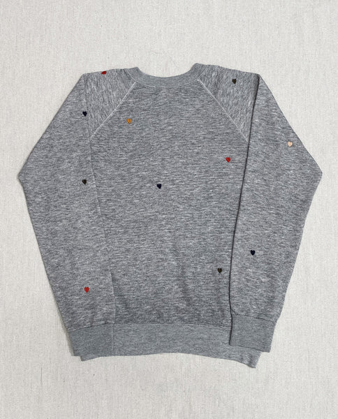 The Vintage Mickey Sweatshirt. -- Dark Heather Grey With Multi Heart Embroidery