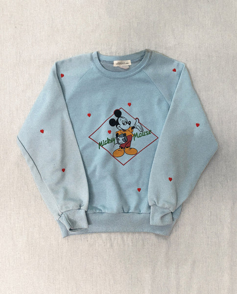 The Vintage Mickey Sweatshirt. -- Baby Blue With Red Heart Embroidery