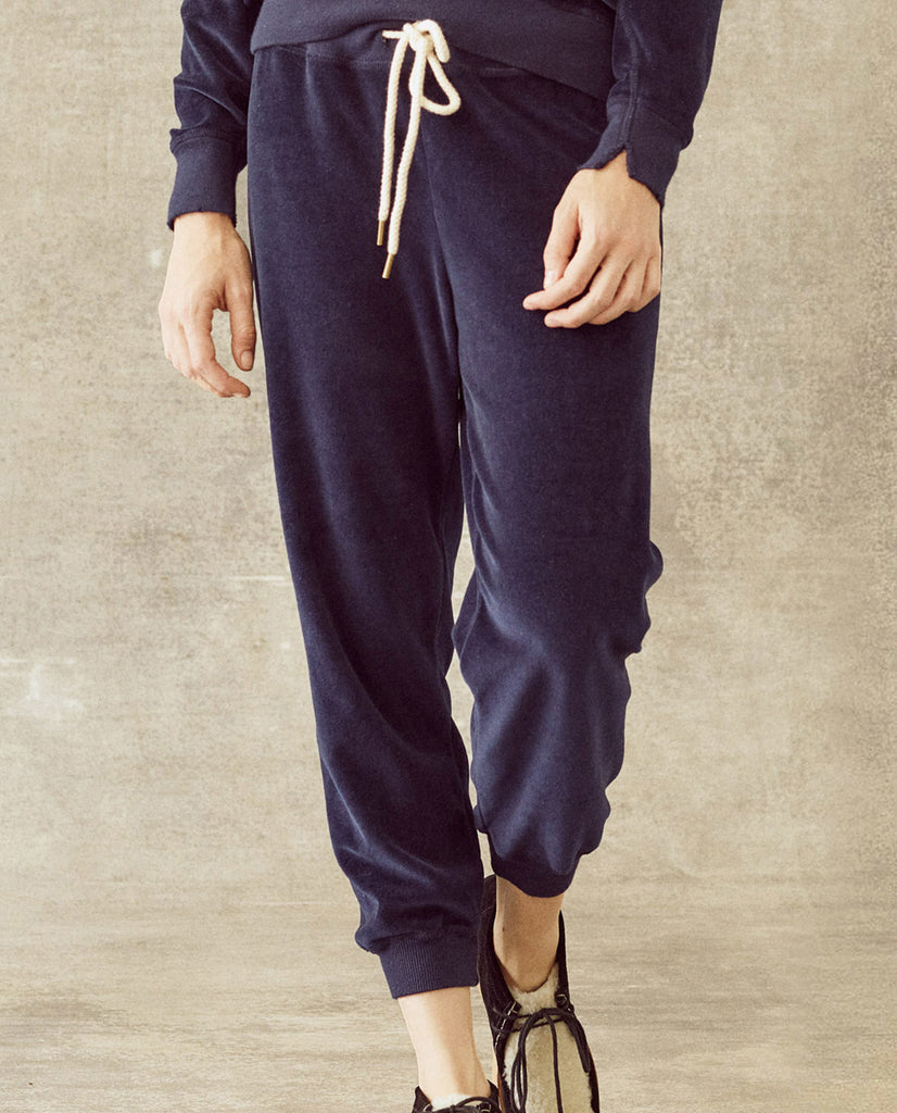 The Velour Cropped Sweatpant. -- Navy