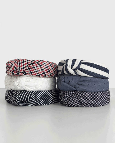 Lele Sadoughi For THE GREAT. Headband. -- Navy Plaid