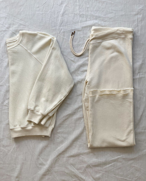 The Shrunken Sweatshirt and The Wide Leg Cropped Sweatpant Set. -- Washed White