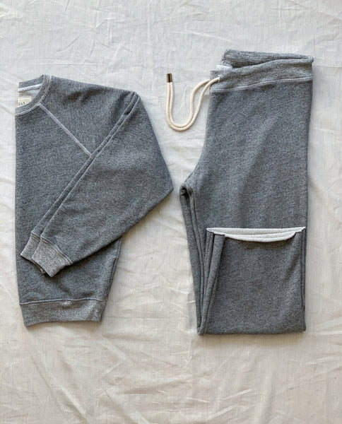 The Shrunken Sweatshirt and The Wide Leg Cropped Sweatpant Set. -- Varsity Grey