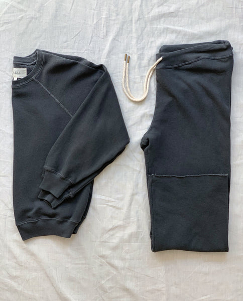 The Shrunken Sweatshirt and The Wide Leg Cropped Sweatpant Set. -- Washed Black